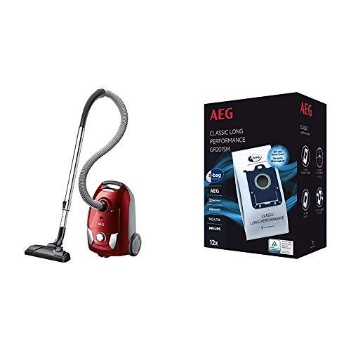 AEG VX4-1-WR-A Aspiradora con Bolsa, 750 W, 3 kg, 80 Decibelios, Polietileno expandido, Rojo + GR201SM Mega Plack Bolsa S-Bag Classic Long Performance, Papel, Sintético, Azul, Blanco