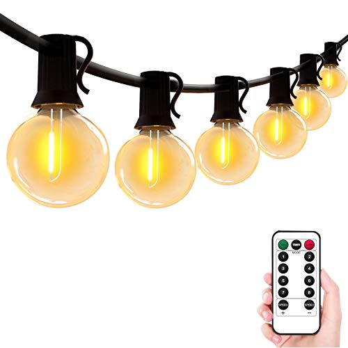 Outdoor String Lights 50FT Patio Lights with 24pcs 0.1W LED G40 Bulbs(3 Spare) 8 Modes Waterproof Outdoor Lights with Remote Timer Hanging Globe Lights for Garden Gazebo Balcony Backyard Bistro