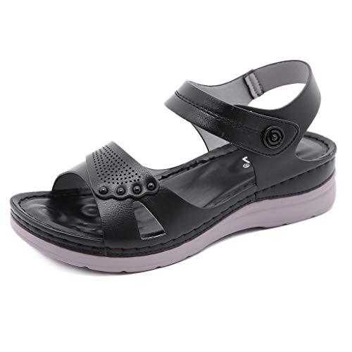 Sandalias Mujer Planos Sandalias Playa Verano Hebilla Punta Abierta Vacaciones Zapatos Elegante Cómodo