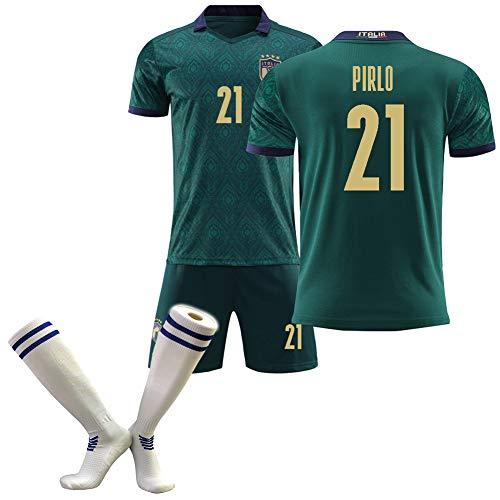 OBTAIN Fußballtrikot für Erwachsene, Marchisio Momobi Ponouk Pirlo, Europapokal der Auswärtstrikot-Nationalmannschaft 2020, grün-21#-S
