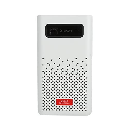 Proyector LED inteligente, Proyector 4K para exteriores, Proyector portátil de música en casa, WiFi 5G, con batería de 5200mAh, Altavoces de alta fidelidad de 2x5W, para películas y videos(blanco)