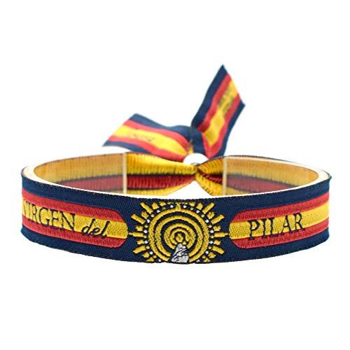 BDM Pulsera de Hilo Virgen del Pilar, Bandera de España, para Mujer y Hombre. Unidades 1