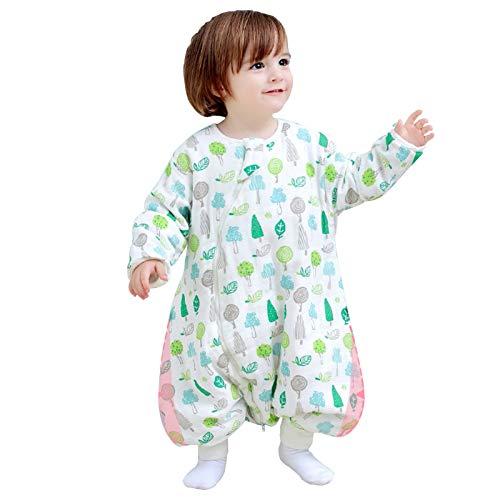 LUO Sacos de Dormir Bolso for Dormir de la Pierna Dividida del Hilo de algodón del bebé, Mangas Desmontables, Colcha Infantil a Prueba de niños, con Fundas de pie, Gran Espacio for bebés Unisex
