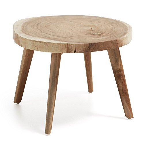 Kave Home - Table d'appoint Wellcres Ronde Ø 65 cm en Bois Massif de mungur pour Usage intérieur et extérieur