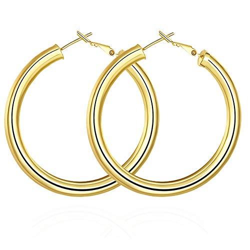 Orecchini da Donna,Gioielli a Cerchio Oro Grandi 50 mm – Placcato oro per Regalo di Amicizia