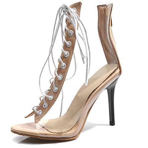 AIMODOR Transparent Stiefeletten Peeptoe Stilettos High Heel Sandalen Schnüren Damen Sexy Sandale mit Reißverschluss beige 34