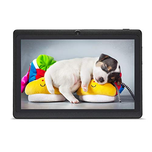 HAEHNE 7' Tablet PC, Google Android 9.0 GMS HD Tablet, 1GB RAM 16GB ROM Quad Core, Cámaras Duales, WiFi, Bluetooth, Negro