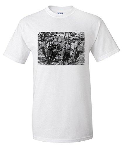 Lanterner Women Shovel Oil from Well in Romania Photograph (Premium T-Shirt)