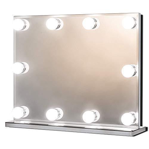 Hollywood Spiegel mit Beleuchtung, Groß Beleuchteter Schminkspiegel für Schminktisch, Beleuchtete Kosmetikspiegel mit 10 Dimmbare LED-Lampen, Mehrere Farbmodi, Tischplatte oder Wandhalterung