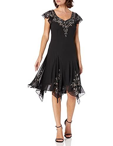 J Kara Women's Petite Flutter Sleeve Hanky Hem Short Cocktail Beaded Dress, Black/Mercury/Silver, 12P