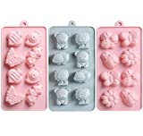 QZDADA 3 Piezas Moldes para Bombones de Chocolate, Moldes para bandejas de Silicona con gelatina, moldes para Hornear en Forma de Animales e Insectos para Dulces, gelatinas, Cubitos de Hielo