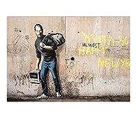 バンクシー絵画現代通りの壁のグラフィティアート幸せな逃げる男キャリングバッグ画像ポスターHDプリントキャンバス壁の装飾プリントポスターアートワークの家の装飾,50×75cm