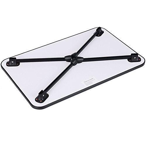 Large Bed Tray NNEWVANTE Laptop Desk Lap Desk Foldable Portable Standing Outdoor Camping Table, Breakfast Reading Tray Holder for Couch Floor Adults Students Kids(Walnut Black)