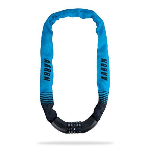 AARON Lock One - Lucchetto per bicicletta con codice a 5 cifre, lucchetto a catena in acciaio e alto livello di sicurezza, per bici elettriche, mountain bike, trekking, bici da corsa, colore: blu