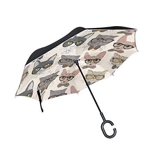 hengpai Hipster Gatos Gafas invertidas invertidas del revés, paraguas para coches, unigue, resistente al viento, a prueba de rayos UV, doble capa para mujeres