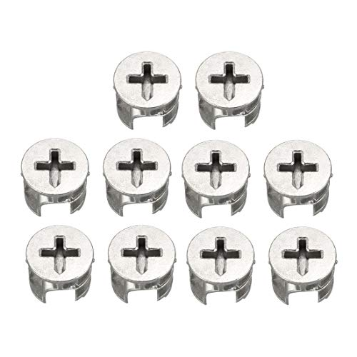 sourcing map 10 Pcs Furniture Connecter Cam Lock Fittings 15mm x 12mm for Cabinet Drawer Dresser and...
