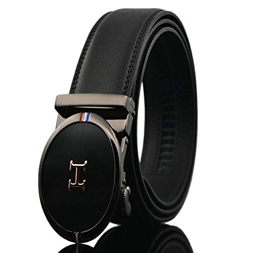 Men's Comfort Genuine Leather Ratchet Dress Belt with Automatic Click Buckle Black Style 04