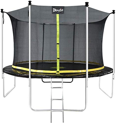 12FT Trampoline with Enclosure Net and Ladder, Doufit TR-06 Outdoor Recreational Rebounder Trampoline for Kids and Family, Jumping Exercise Fitness Heavy Duty Trampoline