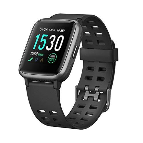 Monitores de actividad Reloj elegante negro, rastreador de ejercicios for mujeres de los hombres, reloj de la aptitud monitor de ritmo cardíaco IP68 impermeable reloj con calorías Paso registro de sue