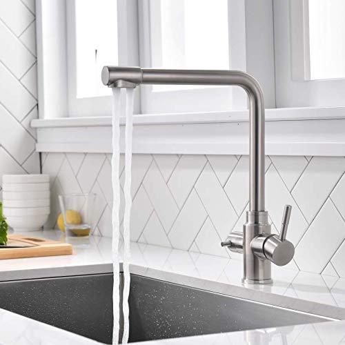 ubeegol 3 Wege Wasserhahn Küche Armatur für Wasserfilter 3 in 1 Trinkwasserhahn Küchearmatur Hebel Filtersystem Mischbatterie Spüle Spültischarmatur Spülbeckenarmatur Edelstahl Gebürstet