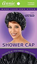 Shower Cap - Black, Vinyl material, elastic band, extra large, large, won't fall off your head,