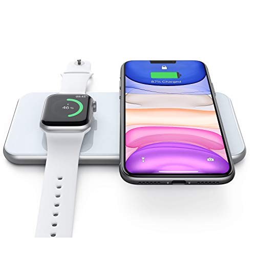 Hinyx Wireless Ladegerät, Kabellose Ladestation für iWatch 5/4/3, Airpods 2/Pro, Schnelles Kabelloses Laden für iPhone SE /11/11 Pro/XR/XS Max/XS/X/8, Samsung Galaxy S6 bis S20 / Note 5 bis 10+
