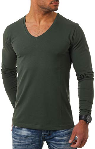 Young & Rich Herren Langarm Shirt mit tiefem V-Ausschnitt deep v-Neck Longsleeve Slim fit Stretch 2239, Grösse:XL, Farbe:Militär-Grün