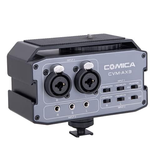 XLR Audio Mixer, Comica CVM-AX3 Dual XLR/6.35mm/3.5mm Video Audio Mixer with Real-time Monitoring, Camera Mixer for Canon Nikon Sony Panasonic DSLR Camera Camcorder etc.