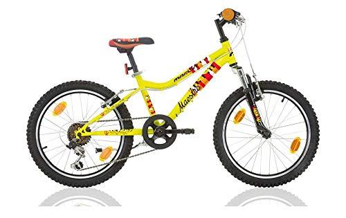 Frank Bikes 20 Zoll Kinderfahrrad Mountainbike Kinder Mädchen Jungen Fahrrad MTB Jugendfahrrad Kinderrad Rad Bike 6 Shimano Gang Federgabel Maestro GELB