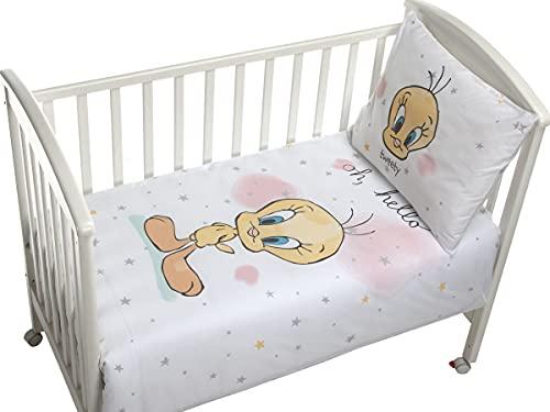 DHestia - Funda Nórdica Cuna de Bebé Piolín Tweety Licencia Looney Tunes