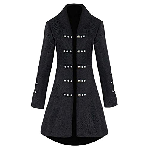 Damen Gothic Langer Jacke Wesentlich Gehrock Steampunk Jacquard Luxuriös Halloween Palast Königin Vampir Uniform Taille Schnürung Perlen Strickjacke ( Color : Schwarz , Einheitsgröße : Tag 2Xl=Eu Xl )