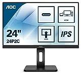 AOC 24P2C 60 cm (23,8 Zoll) Monitor (HDMI, DisplayPort, USB-C Docking, USB Hub, 4ms Reaktionszeit, 1920x1080, 75 Hz, Pivot) schwarz