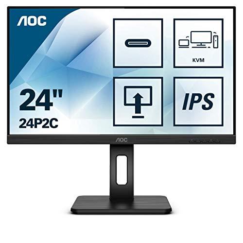 AOC 24P2C 60 cm (23,8 Zoll) Monitor (HDMI, DisplayPort, USB-C Docking, USB Hub, 4ms...