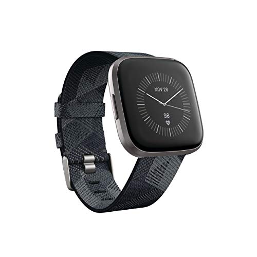 Fitbit FB507GYGY Versa 2 Special Edition Health & Fitness Smartwatch with Heart Rate, Music, Alexa Built-in, Sleep & Swim Tracking, Smoke Woven, One Size (S & L Bands Included) (Smoke Woven)