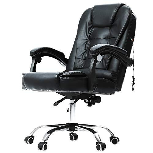 VONLUCE Silla de oficina ejecutiva con ruedas   Silla de oficina para el hogar y la oficina   Silla de masaje reclinable cómoda de piel sintética