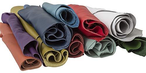 IPEA - Recortes de Piel auténtica de tamaño Aleatorio Mezclados con Formas Diferentes para la fabricación Artesanal, Colores Vivos, Piezas de Cuero