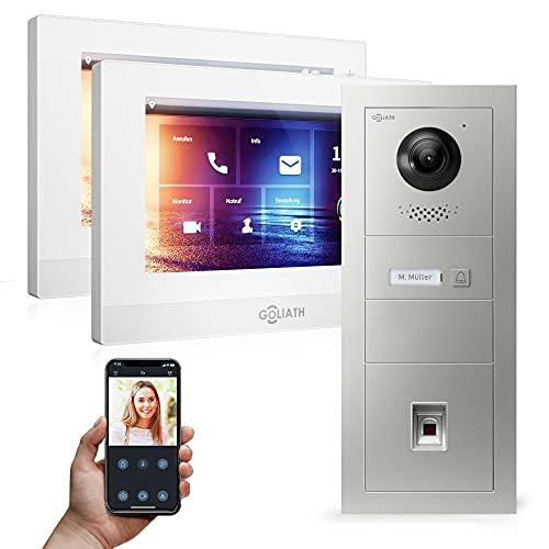 "Goliath Hybrid | 2-Draht | Full-HD Video Türsprechanlage | App | 1-Fam | 2 x Full-Touchscreen 7\"" | Aluminium Unterputz Türstation | + Fingerprint | 180° Ultra-Weitwinkel | AV-2DS-545"