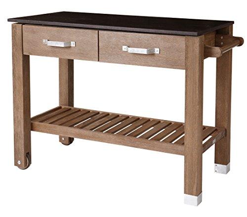Dehner Premium Holzpflanztisch Windsor, ca. 110 x 55 x 84 cm, FSC® Akazienholz, braun/schwarz