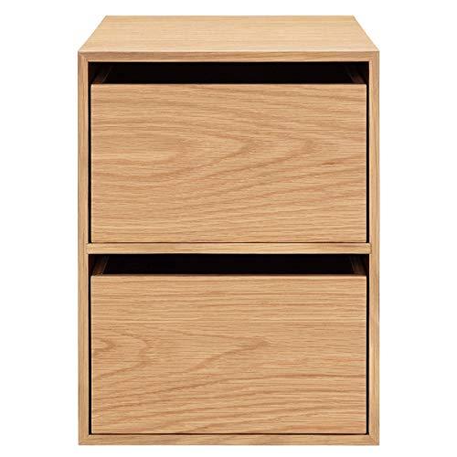 無印良品木製収納ケース・引出式・2段・オーク材約幅26×奥行37×高さ34.5cm82011302