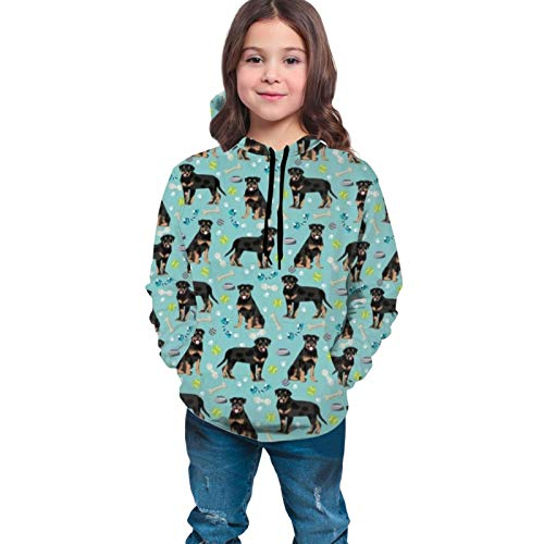 Chimmy95 Rottweiler Dog Dogs and Toys Blue Pullover Hooded Shirt Teen Sweatshirt Teen Hoodie Hooded Long Shirt für Teen Mantel mit Tasche(M(10-12))