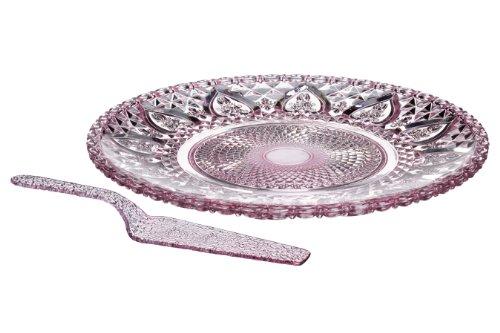 Premier Housewares - Plato y Pala para Tartas (Cristal), Color Rosa