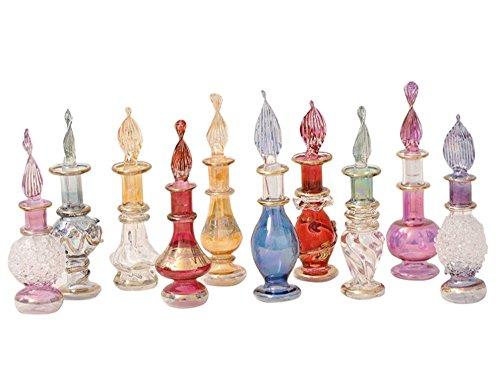 Perfumeros, esencieros de Cristal soplado Hecho y Pintado a Mano en Egipto, Mide Entre 4 y 6 cm Aproximadamente. Se envía aleatoriamente según disponibilidad