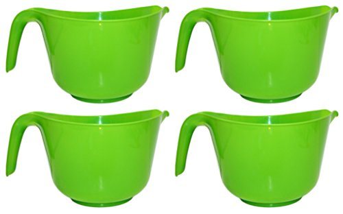 Set of 4 Black Duck Brand Classic Plastic 3 QT Mixing Bowls with Handle and Spout! 4 Assorted Colors! (Set of 4 Green)