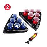 Uhomely Chapeaux gonflables de pongs de bière, 2 Pack de Tables de pongs de Piscine à bière flottantes avec 1 Pompe, 2 balles et 12 Tasses (6Red, 6Blue), Jeu de bière Pong