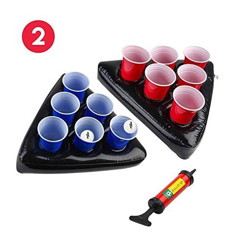 Uhomely Aufblasbare Bier Pong Hüte, 2 Pack Schwimmbecken Bier Pong Tische mit 1 Pumpe, 2 Bälle und 12 Tassen (6Red, 6Blue), Beste Bier Pong Spiel Set