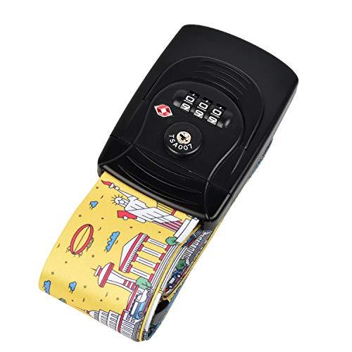 Kroeus(クロース)スーツケースベルト トランクベルト TSAロック搭載 長さ調整可能 荷物ストラップ 固定ベルト 簡単装着 旅行用品 海外出張 紛失防止