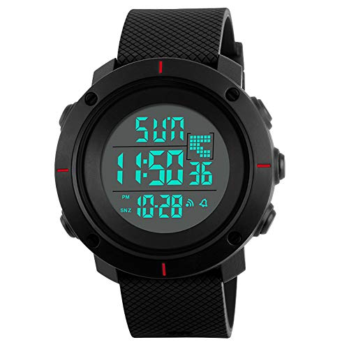 Men's Sports Digital Watch Military 50M Waterproof LED Army Simple Watch with Back Light and Silicone Strap Stopwatch Alarm-Black