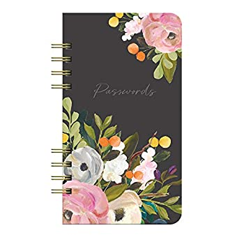 Internet Password Hardcover Spiral Logbook by Studio Oh! - Bella Flora - 4.5  x 8  Portable Spiral Hardcover Notebook with 144 Pages for Recording Usernames Passwords & PINs and Alphabetical Tabbed Dividers