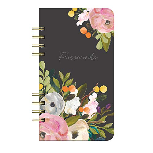 """Internet Password Hardcover Spiral Logbook by Studio Oh! - Bella Flora - 4.5"""" x 8"""" Portable Spiral Hardcover Notebook with 144 Pages for Recording Usernames, Passwords & PINs and Alphabetical Tabbed Dividers"""