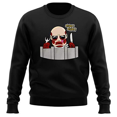 Okiwoki Pull Noir Parodie L'attaque des Titans - Le Titan Colossal - A Table !! (Sweatshirt de qualité Premium de Taille L - imprimé en France)